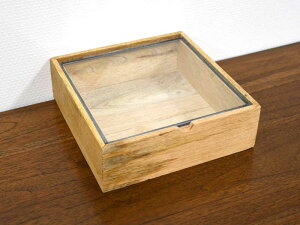 ガラスコレクション ウッドケース スクエア L ディスプレイケース ジュエリーケース アクセサリー コレクション ガラス ショップ用 木製 アンティーク おしゃれ ナチュラル インテリア アジ