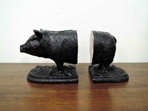 ブックエンド ピッグ ブックスタンド 本立て 豚 ぶた アイアン アニマル 動物 ブラック 黒 おしゃれ 大人 インテリア ディスプレイ アジアン