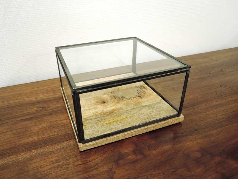 ガラスコレクション ディスプレイケース S ショーケース 飾り オブジェ ガラス アンティーク おしゃれ アイアン インテリア アジアン雑貨