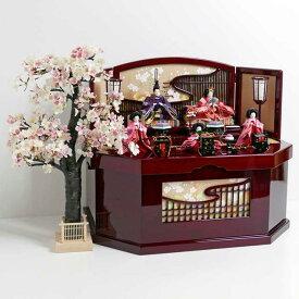 雛人形 三段飾り コンパクト収納飾り ひな人形 赤と紫衣装のなでしこ柄ひな人形古都桜収納五人飾り
