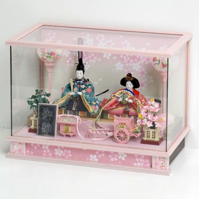 雛人形 ケース ピンク コンパクト 雛 ケース飾り 淡いピンクでまとめた桜パールピンク雛ケース飾り
