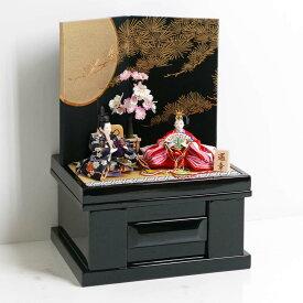 雛人形 コンパクト収納飾り ひな人形 親王飾り オレンジ桜花柄衣装の雛人形黒地に月と松収納飾り