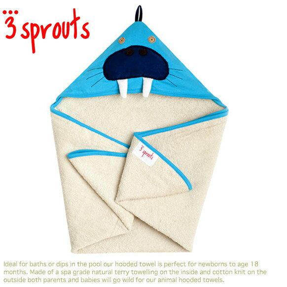 3 Sprouts【スリースプラウツ】出産祝いにオススメ♪ふかふか厚みたっぷりフード付バスタオル(ウォルラス タオルポンチョ)メール便/定形外郵便不可】