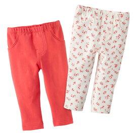 【NB,3M,6Mのみ】カーターズ (Carter's)パンツ2枚組セット(ピンク&フラワー) bodyrec (2020WS-R)