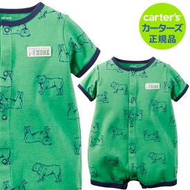 【残り12M,18Mのみ】\セール/カーターズ (Carter's)コットンロンパース(ハンク)夏物 ロンパース 肌着 赤ちゃん ベビー ボディスーツ 半袖 犬 ドッグ (2020WS-A)