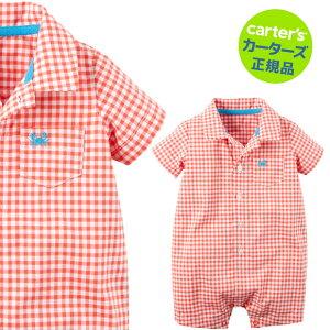 【残り3Mのみ】カーターズ(Carter's)襟付コットンロンパース(オレンジギンガム)夏物 ロンパース 肌着 赤ちゃん ベビー ボディスーツ 半袖 襟付 【0921HALBO】