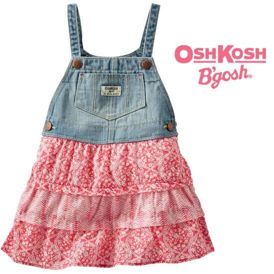 【残り12M,2T,3Tのみ】OshKosh【オシュコシュ】フワフワスカートがラブリー♪デニム&ティアードスカート(ブレイデットストライプ)