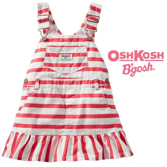 OshKosh【オシュコシュ】お洒落な裾フリル切替♪キャンパス地ジャンプスカート(ボールドストライプ)