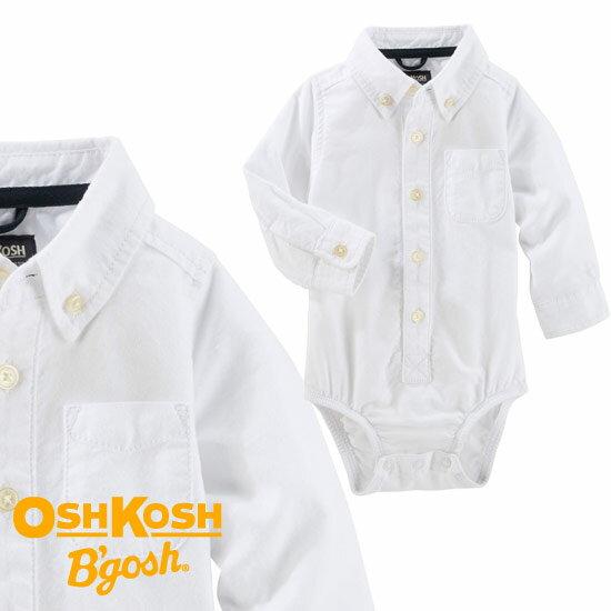 OshKosh【オシュコシュ】オックスフォード ボディスーツ(ホワイト)