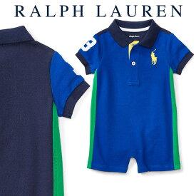 ラルフローレン【Ralph Lauren】デザインコットンロンパース(ブルーブロック)【あす楽対応】(ロンパース ベビー 出産祝い Ralph Lauren 赤ちゃん 男の子)