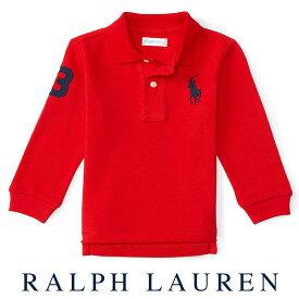 ラルフローレン【Ralph Lauren】メッシュ生地長袖ポロシャツ(レッド)【あす楽対応】(ポロシャツ ベビー 出産祝い 赤ちゃん)