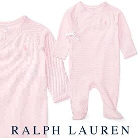ラルフローレン【Ralph Lauren】足付コットンカバーオール(ストライプピンク)【あす楽対応】(ベビー 出産祝い 赤ちゃん 女の子 長袖)