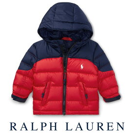 6d4a488121153 ラルフローレン Ralph Lauren フード付2トーンダウンジャケット(レッド ネイビー