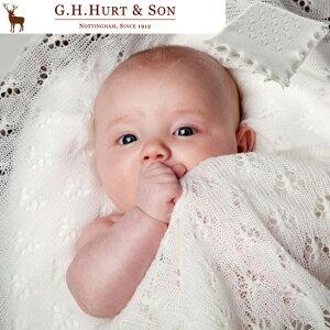 【送料無料ポイント5倍】G.H.HURT&SONジーエイチハートアンドサンメリノウールショールホワイト【出産祝い男の子女の子】