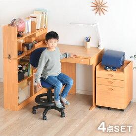 ●送料無料● 学習机 天然木 幅95cm デスク 上棚 ワゴン 学習机セット 学習デスクセット 学習デスク 勉強机 机 勉強デスク カントリー デスク 木製 つくえ パソコンデスク 入学祝 男の子 女の子 シンプル ラバーウッド