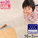 ●送料無料● ジョイントマット 極厚20mm 木目調 大判 防音ノンホル 16枚 3畳 単色 58cm 木目 サイドパーツ付 洗える …