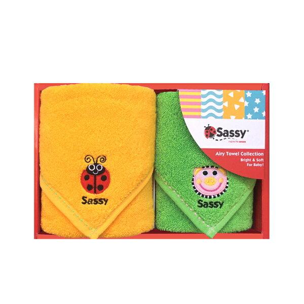 【送料無料 送料込み】Sassy(サッシー)ミニタオルセット(オレンジ&グリーン)【出産内祝、内祝いなどのギフトのお返し・返礼に】【御中元・御歳暮・入学内祝・初節句内祝などに】