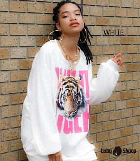 Lady's fashion street dance long sleeves Brach's tile rial tiger over size TOPS of baby Shoop ベイビーシュープ B origin