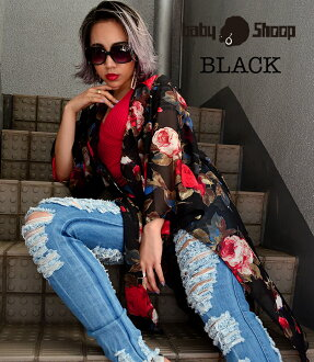 Lady's fashion street dance floral design chiffon long length cardigan of baby Shoop ベイビーシュープ B origin
