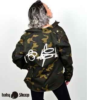 Entering lady's fashion street dance BABYSHOOP logo military jacket of baby Shoop ベイビーシュープ B origin
