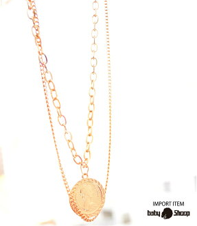 Lady's fashion street dance sexy two coin design necklace of baby Shoop ベイビーシュープ B origin