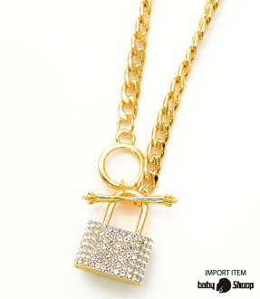 Rhinestone lock necklace gold