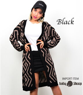 Lady's fashion street dance native pattern long length cardigan of baby Shoop ベイビーシュープ B origin