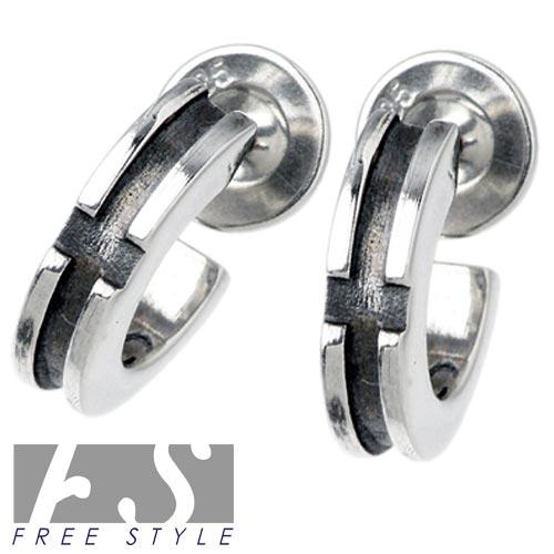 FREE STYLE【フリースタイル】 クロスフープ シルバー ピアス ペアセット 両耳用 シルバーアクセサリー シルバー925 FSE-014-P