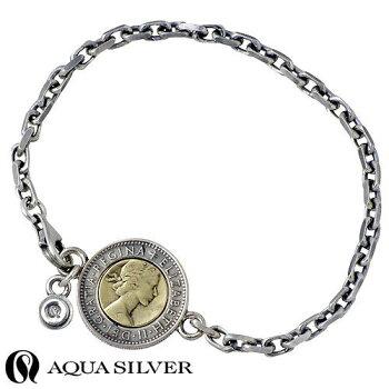 【アクアシルバー】AQUASILVER6ペンスコインシルバーブレスレット真鍮シルバーアクセシルバーアクセサリーシルバー925