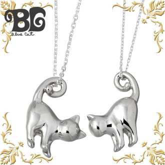 Blue Cat silver key necklace Silver Jewelry Silver 925 with tail cats pair
