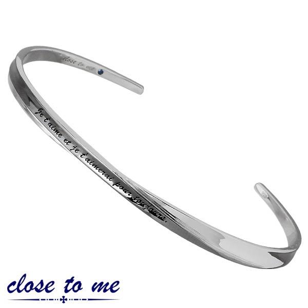 close to me【クロストゥーミー】メッセージ シルバー バングル ブルーダイヤモンド メンズ 刻印可能 SVA13-015