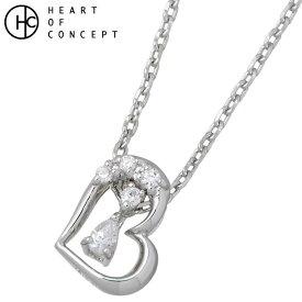 HEART OF CONCEPT【ハートオブコンセプト】 3WAYオープン ハート シルバー ネックレス レディース キュービック ホワイトコーティング ネックレス シルバーアクセサリー シルバー925 HCP-317WH