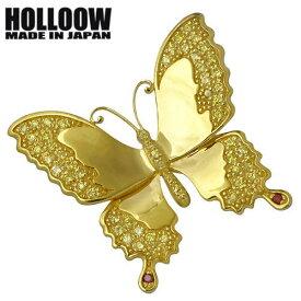 HOLLOOW【ホロウ】 バタフライ シルバー ブローチ キュービック ゴールドコーティング 蝶 シルバーアクセサリー シルバー925 KHP-120GD