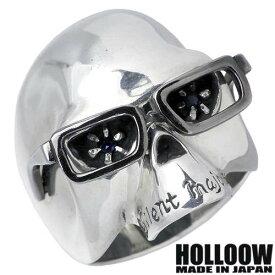 HOLLOOW【ホロウ】 ヴィンセント シルバー リング サファイア スカル ドクロ 髑髏 10〜25号 指輪 シルバーアクセサリー シルバー925 KHR-09
