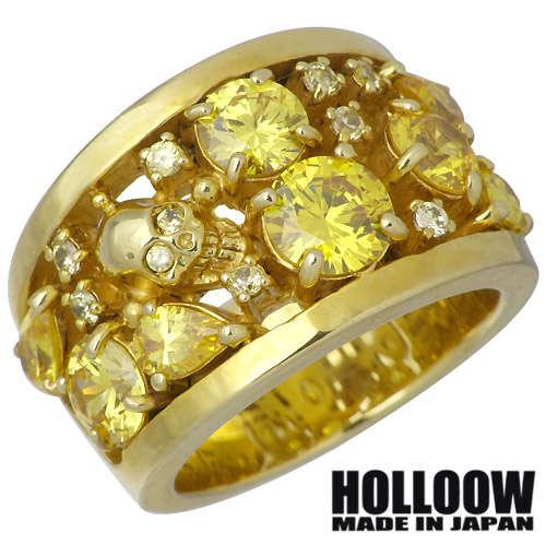 HOLLOOW【ホロウ】 ラプソディー シルバー リング ゴールドコーティング キュービック スカル ドクロ 髑髏 10〜25号 指輪 シルバーアクセサリー シルバー925 KHR-50GD