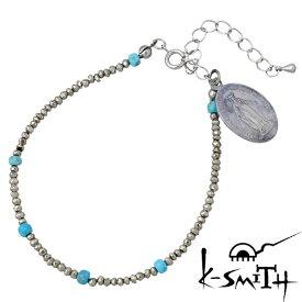 K-SMITH【ケースミス】 パイライト ブレスレット アクセサリー メダイ ターコイズ レディース KI-PLTQ-B-L