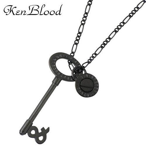 KEN BLOOD【ケンブラッド】 キーモチーフ シルバー ネックレスS ブラック カギ 鍵 シルバーアクセサリー シルバー925 KB-KP-284BK