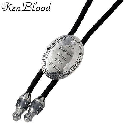 KEN BLOOD【ケンブラッド】 オーバル プレート シルバー ブラックレザーループタイ 十字架 アンティーク仕上げ シルバーアクセサリー シルバー925 KB-KP-313BK