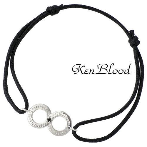 KEN BLOOD【ケンブラッド】 シルバー コード ブレスレット キュービック ブラック シルバーアクセサリー シルバー925 KB-KP-326BK