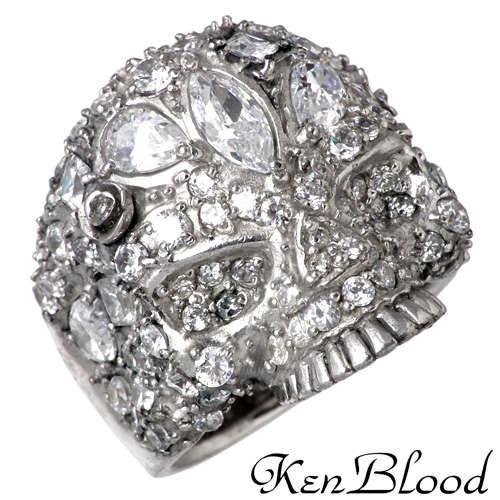 KEN BLOOD【ケンブラッド】 スカル シルバー リング キュービック 13号〜27号 指輪 CZ シルバーアクセサリー シルバー925 KB-KR-204SV