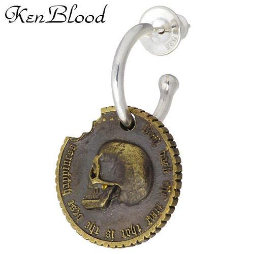 KEN BLOOD【ケンブラッド】 コンクエスト シルバー ピアス ブラス スカル コイン 1個売り 片耳用 シルバーアクセサリー シルバー925 KP-345SV-AtGD