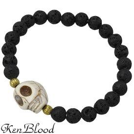 KEN BLOOD【ケンブラッド】 ウィルパワー ストーン ブレスレット ブラック スカル KP-353BK