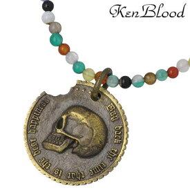 KEN BLOOD【ケンブラッド】 コンクエスト ブラス ネックレスB スカル コイン ミックスカラー シルバーアクセサリー KP-355AG