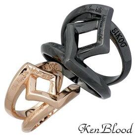 KEN BLOOD【ケンブラッド】 クロス ローズ シルバー ペア リング 指輪 15〜25号 9〜19号 シルバーアクセサリー シルバー925 KR-245ABK-BPK-P