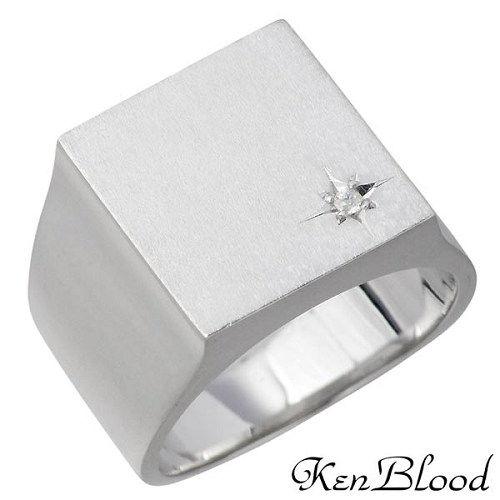 KEN BLOOD【ケンブラッド】 シルバー リング ダイヤモンド マット仕上げ メンズ 指輪 13〜25号 シルバーアクセサリー シルバー925 KR-251M