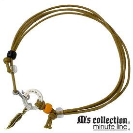 M's collection minute line【エムズコレクション】 3WAY シルバーチョーカー ネックレス ブレスレット アンクレット フェザー 羽 翼 カーキ 真鍮 シルバーアクセサリー シルバー925 ML-066KHK