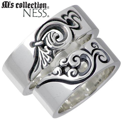 M's collection NESS【エムズコレクション】 シルバー ペア リング 7〜13号 15〜21号 フェザー 羽 指輪 シルバーアクセサリー シルバー925 MC-375-376-P