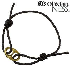 M's collection【エムズコレクション】 2WAY ブレスレット アクセサリー アンクレット ブラウン 合金 ワックスコード NO112BRN