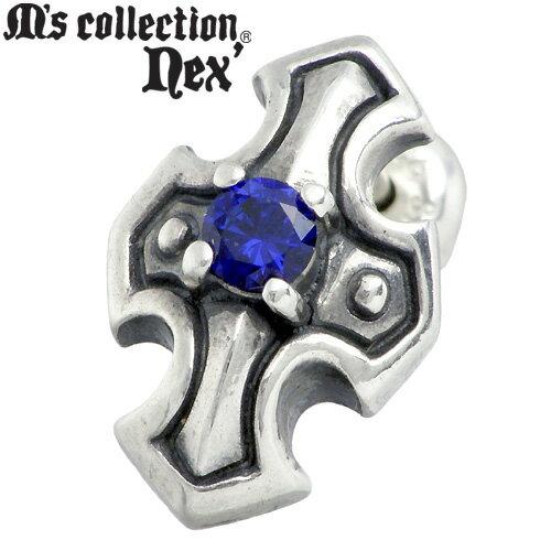 M's collection nex'【エムズコレクション】 クロス & ストーン スタッド シルバー ピアス 1個売り 片耳用 シルバーアクセサリー シルバー925 X0067