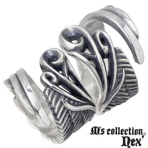 M's collection nex'【エムズコレクション】 ウィング シルバー ペア リング 指輪 9〜15号 15〜21号 シルバーアクセサリー シルバー925 X0171-0172-P
